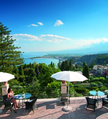 Terrace with a view at Belmond Hotel Caruso, Ravello, Italy
