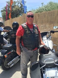 Harley Davidson rider and local host.