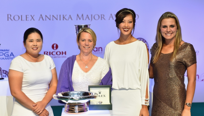 EVIAN-LES-BAINS, FRANCE - SEPTEMBER 13:  Ibeen Park of South Korea, Annika Sorestram of Sweden, Michelle Wie of USA and Lexi Thompson of USA at the announcement of the Rolex Annika Major award at the Rolex Awards cermony after the third round of The Evian Championship at the Evian Resort Golf Club on September 13, 2014 in Evian-les-Bains, France.  (Photo by Stuart Franklin/Getty Images)