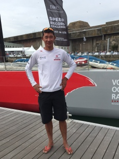 The Volvo Ocean Race stopped in Lorient, France. Dongfeng Race Team sailor in the port.