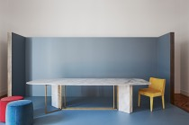 Plinto Calacara marble table top by Andrea Parisio for Meridiani