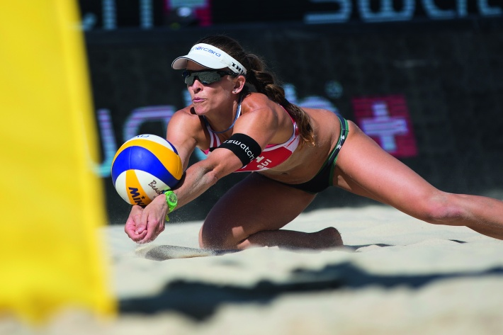 Nadine Zumkehr of Switzerland competes during the Swatch Beach Volleyball Major Series in Gstaad, Switzerland on July 10, 2015