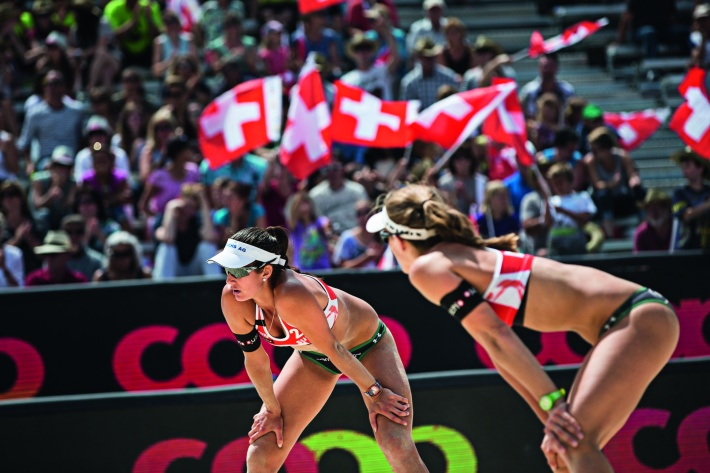 Nadine Zumkeher Joana Heidrich of Switzerland seen during the Swatch Beach Volleyball Major Series in Gstaad, Switzerland on July 8, 2015